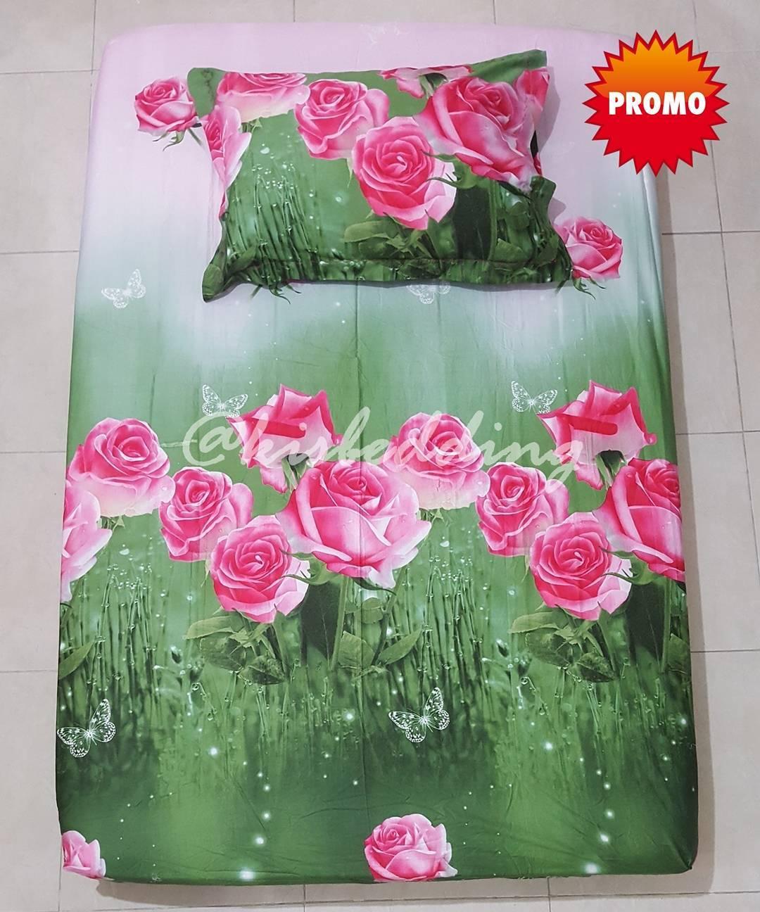 Sprei Motif Bunga Hijau Pink