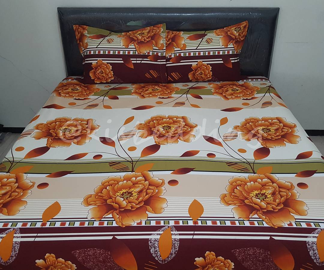 Sprei Motif Brown Flowers (160x200)