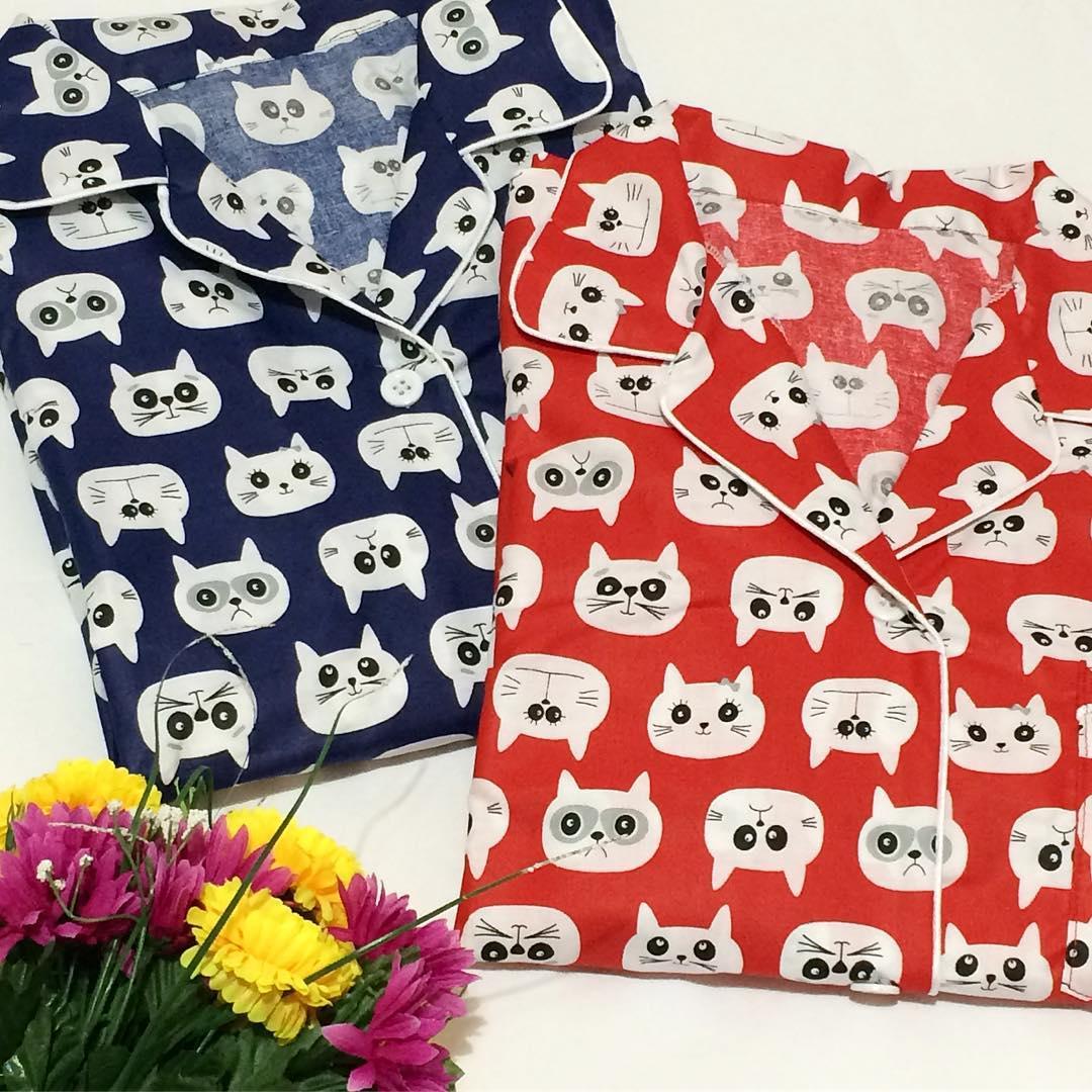 Piyama Celana Pendek Blue Cat x Red Cat