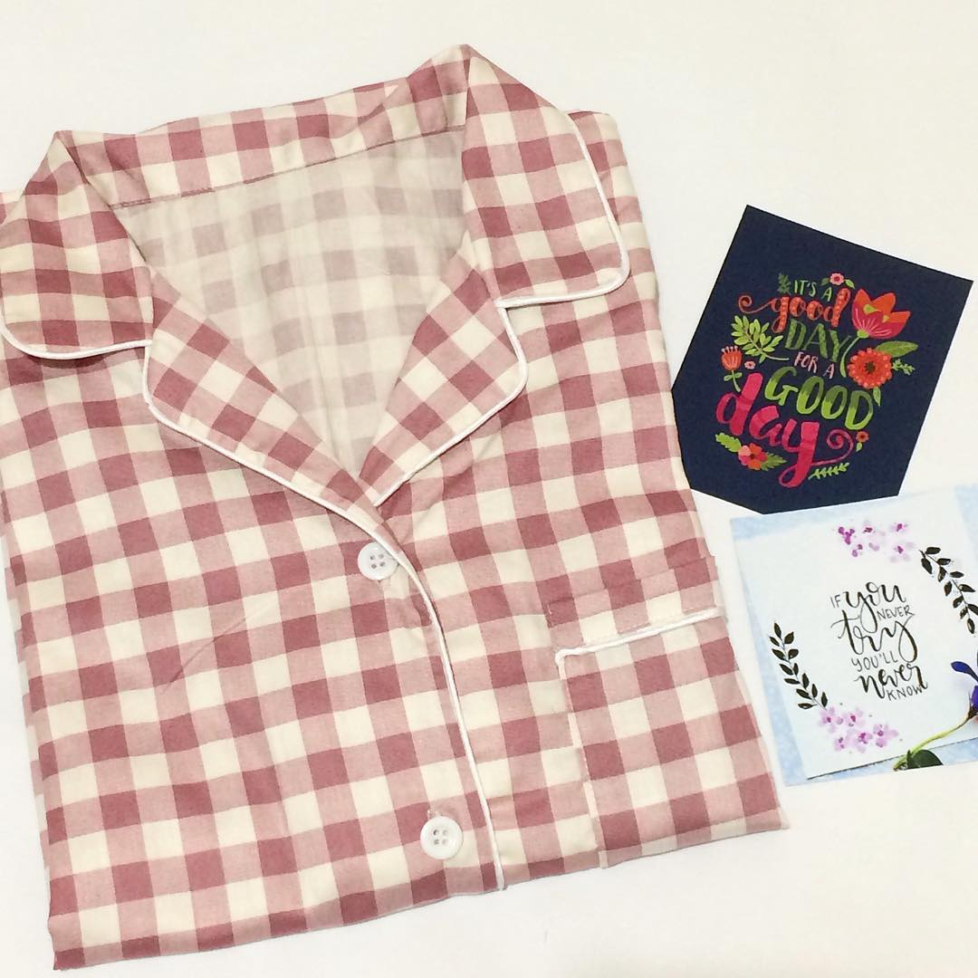 Piyama Celana Pendek Pink Check