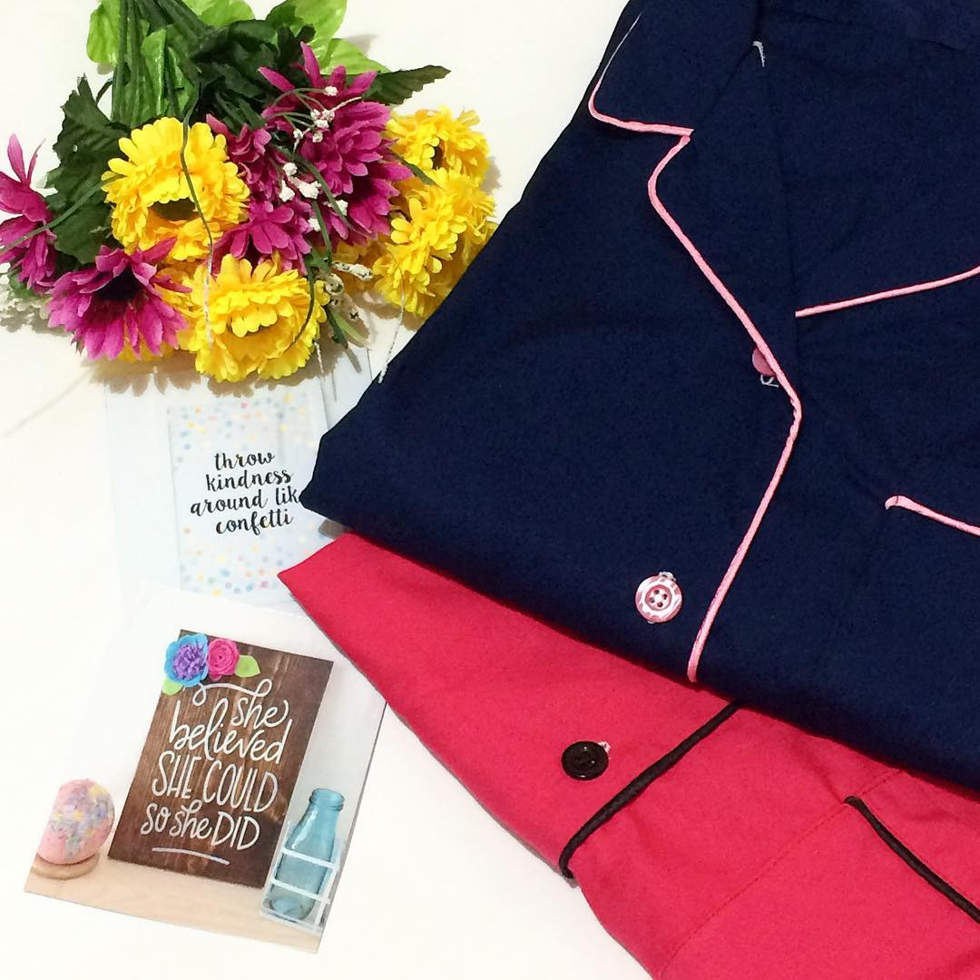 Piyama Celana Pendek Navy x Pink