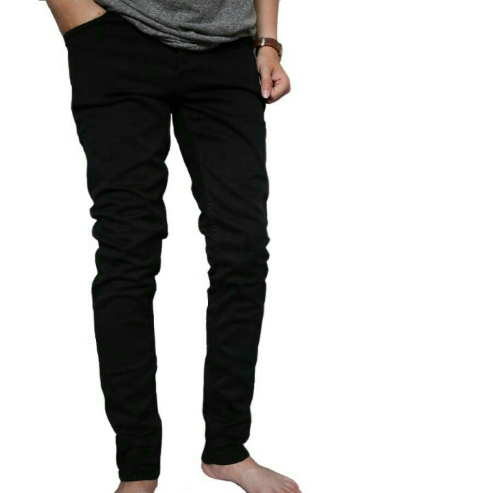 Celana Panjang Jeans Pria Distro Hitam Polos