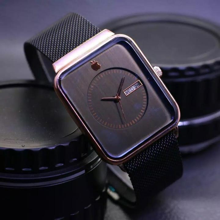 Jam Tangan Apple Watch Magnet Hitam Plat Gold