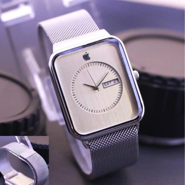 Jam Tangan Apple Watch Magnet Silver Plat Putih