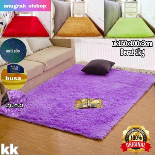 Karpet bulu empuk busa royal uk 150x100x3cm