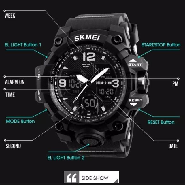 SKMEI 1155B Jam Tangan Pria Sport Analog - Digital Silikon PU 55 mm 3