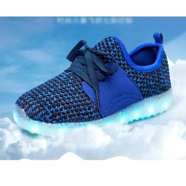 Sepatu Anak LED USB Charging Yezzy Biru