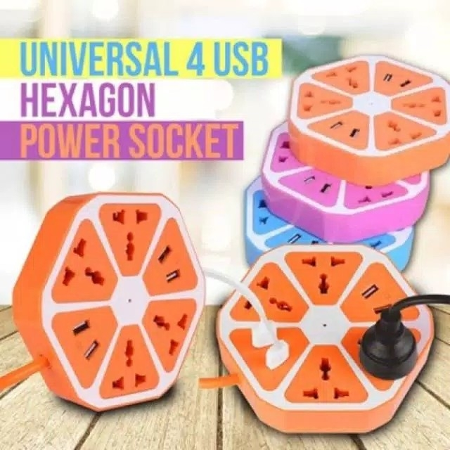Stop Kontak USB Hexagon Socket  4 USB Colokan Listrik Smart Power